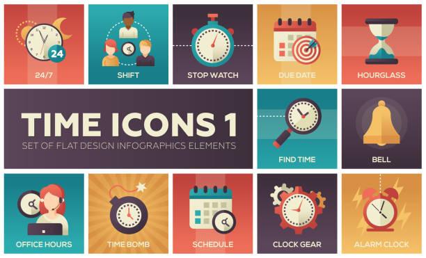 illustrazioni stock, clip art, cartoni animati e icone di tendenza di time icons - modern set of flat design infographics elements - time