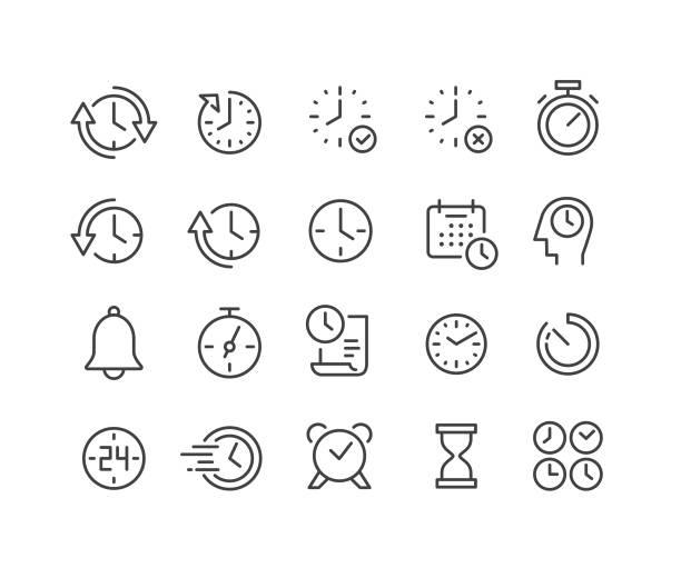 zestaw ikon czasu - seria classic line - czas stock illustrations