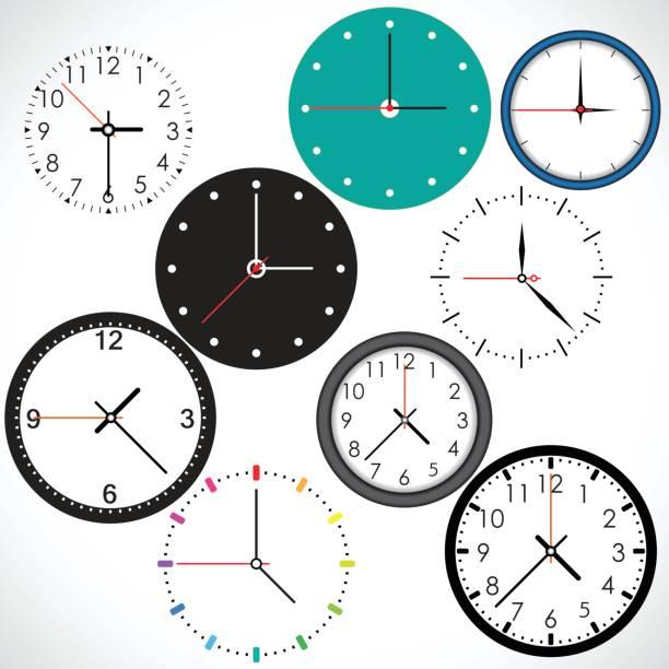 ilustraciones, imágenes clip art, dibujos animados e iconos de stock de conjunto de iconos de tiempo - wall clock