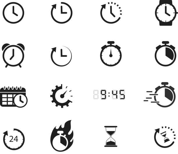 time icons symbols of time icon design element clock stock illustrations