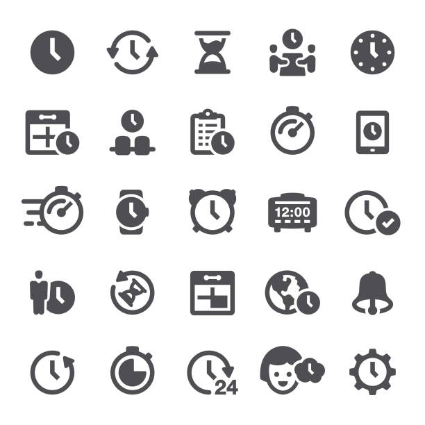 Time Icons Time, time management, clock, icon, icon set, time zone, watch waiting stock illustrations