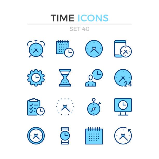 stockillustraties, clipart, cartoons en iconen met de pictogrammen van de tijd. vector lijn pictogrammen instellen. premiumkwaliteit. eenvoudige dunne lijn ontwerp. beroerte, lineaire stijl. overzichtsknoppen voor moderne, pictogrammen. - date