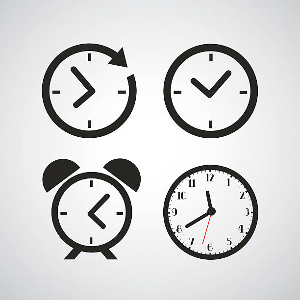 stockillustraties, clipart, cartoons en iconen met time icons with different time periods in black - clock
