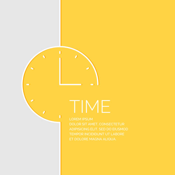 Time in a linear style. Vector illustration Time in a linear style. Vector illustration on a yellow background. clock stock illustrations
