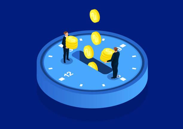 Time investment Time investment time is money stock illustrations