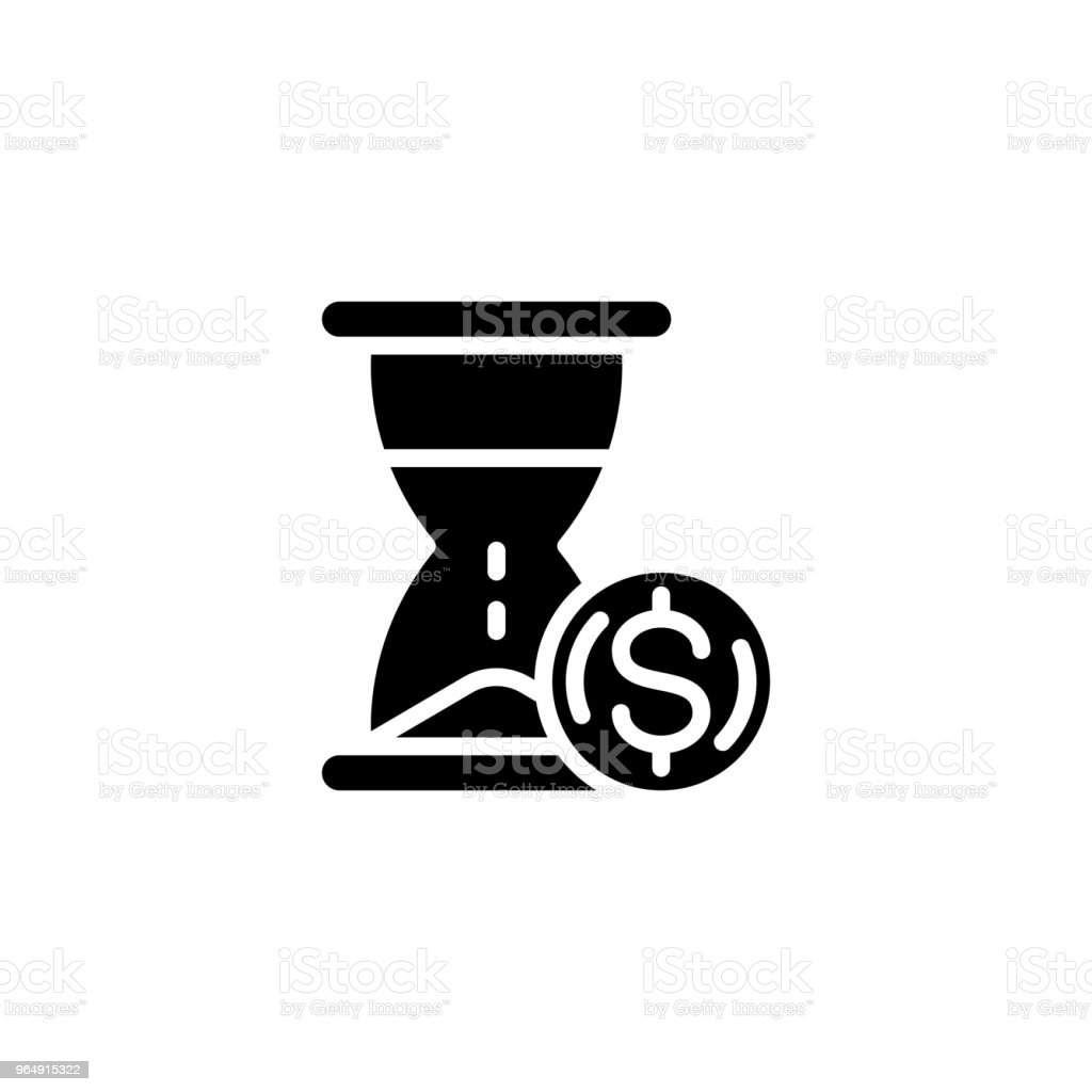 Time is money black icon concept. Time is money flat  vector symbol, sign, illustration. royalty-free time is money black icon concept time is money flat vector symbol sign illustration stock vector art & more images of antiquities