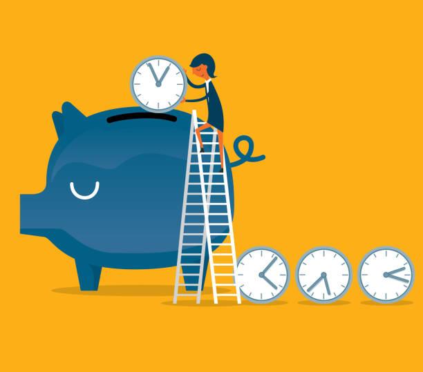 stockillustraties, clipart, cartoons en iconen met tijd is geld - zakenvrouw - woman very rich