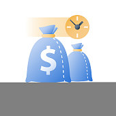 Time is money, clock and bag, fast loan, quick credit, payment period, savings account, financial benefit