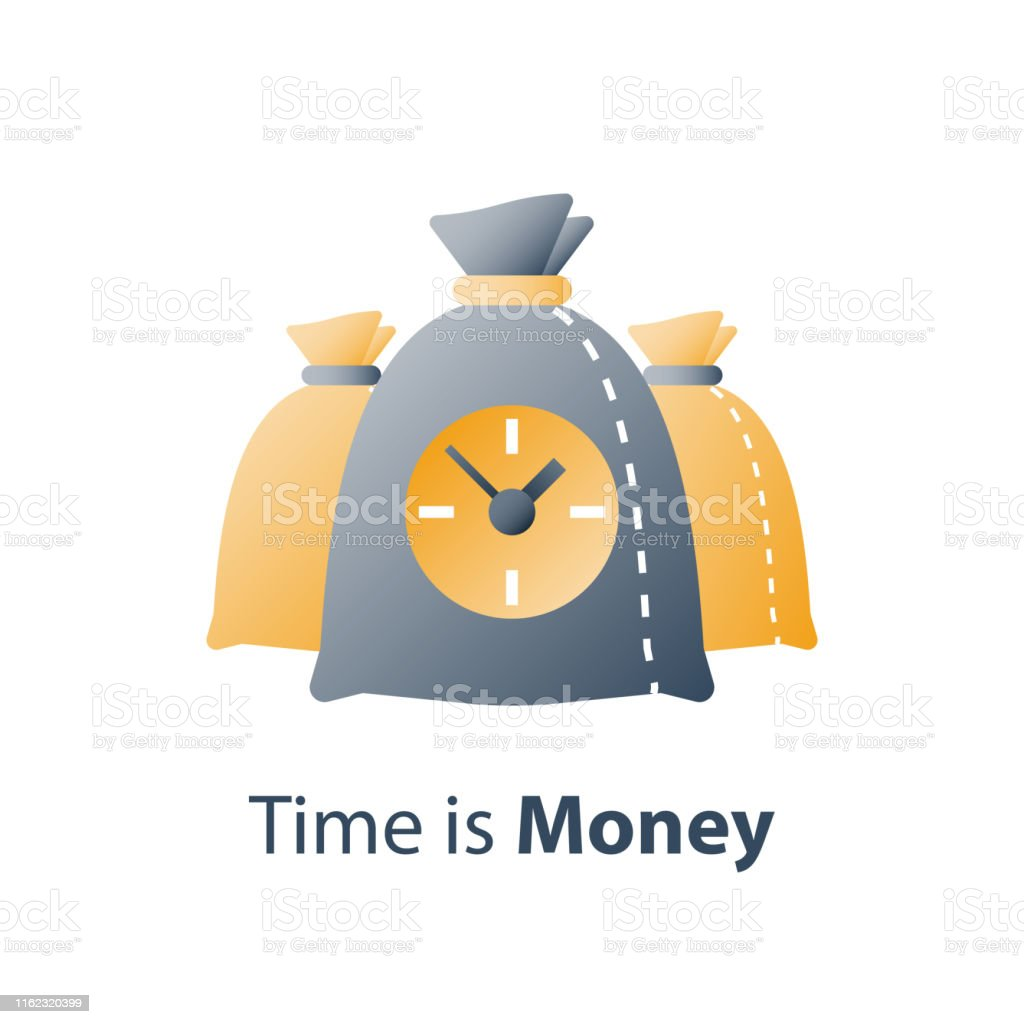 Clock and bag, time is money, fast loan, quick credit, payment...