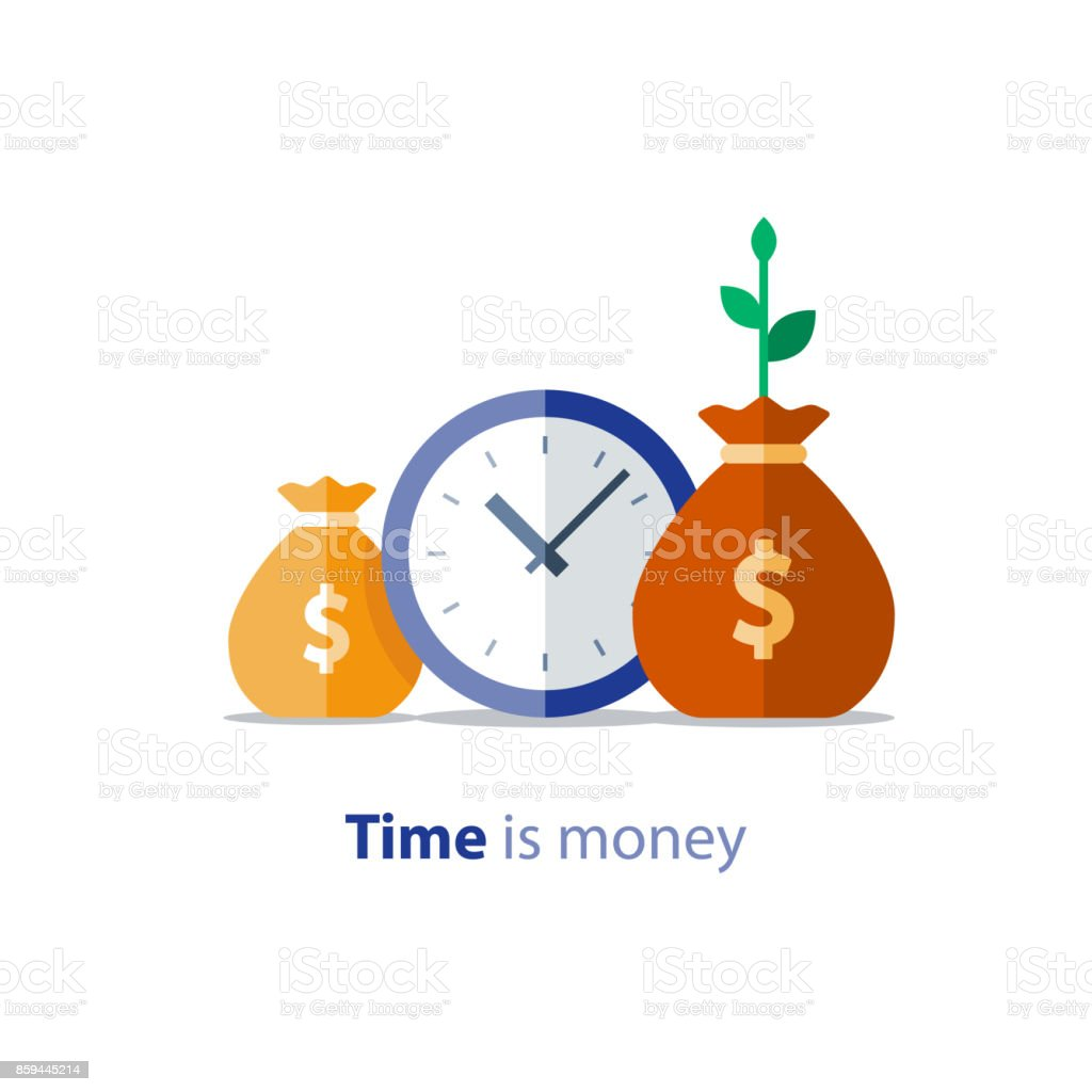 Time is money, clock and money bags, business and finance, return on investment, income growth, annual payment, vector icon vector art illustration