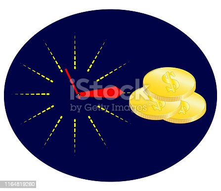 614338352istockphoto Time is money concept, clock and coin, long term financial investment, superannuation savings, future income, annual revenue, money profit and benefit, vector flat line icon. 1164819260