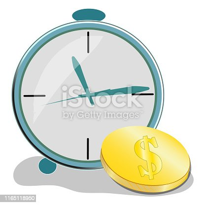 614338352istockphoto Time is money concept, clock and coin, long term financial investment, superannuation savings, future income, annual revenue, money profit and benefit, vector flat line icon. 1165118950