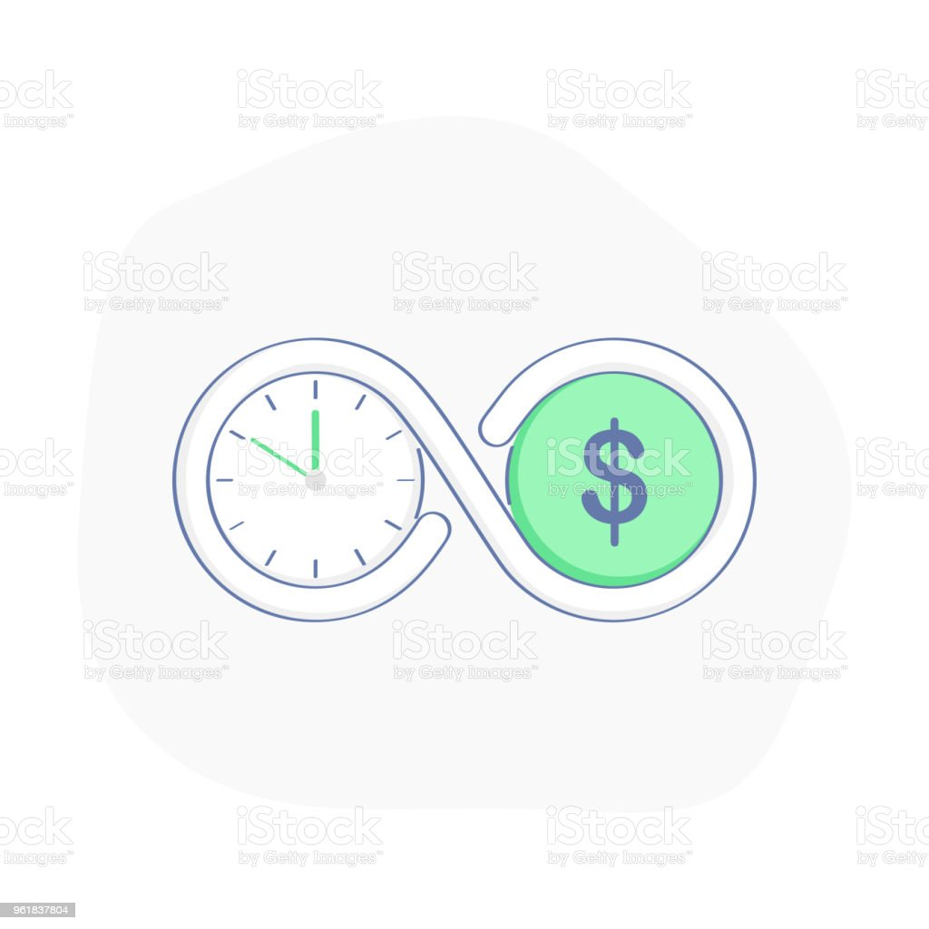 Time Is Money Connection Of Clock Symbols Stock Vector Art More