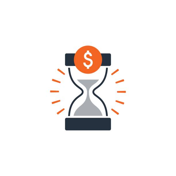 Time is money, finance concept, bank savings account, insurance and pension idea Business and finance theme concept, sand glass time and money icon. Flat design vector illustration time is money stock illustrations