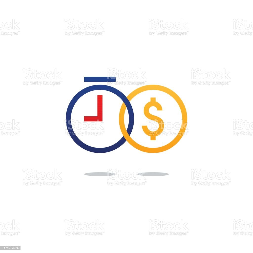 Time is money, finance concept, bank savings account, insurance and pension idea vector art illustration