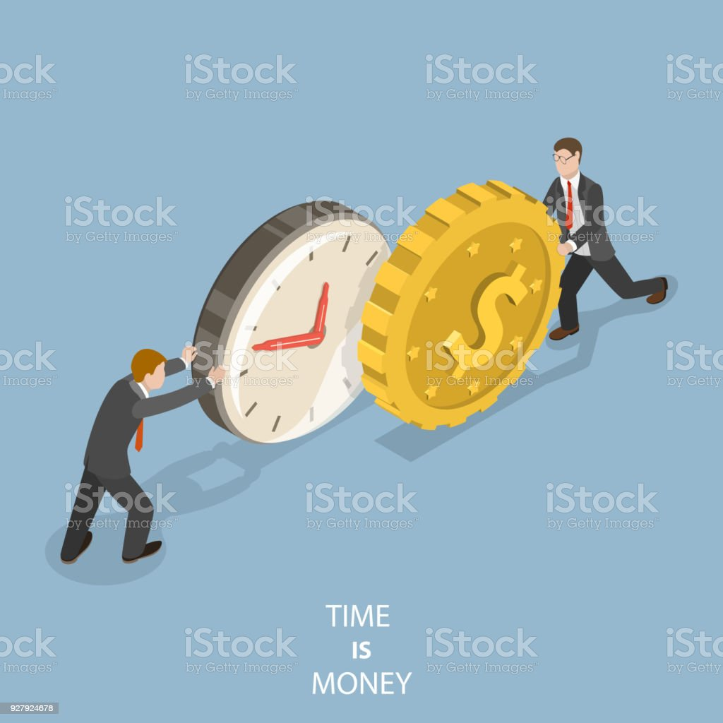 Time is money flat isometric vector concept. vector art illustration