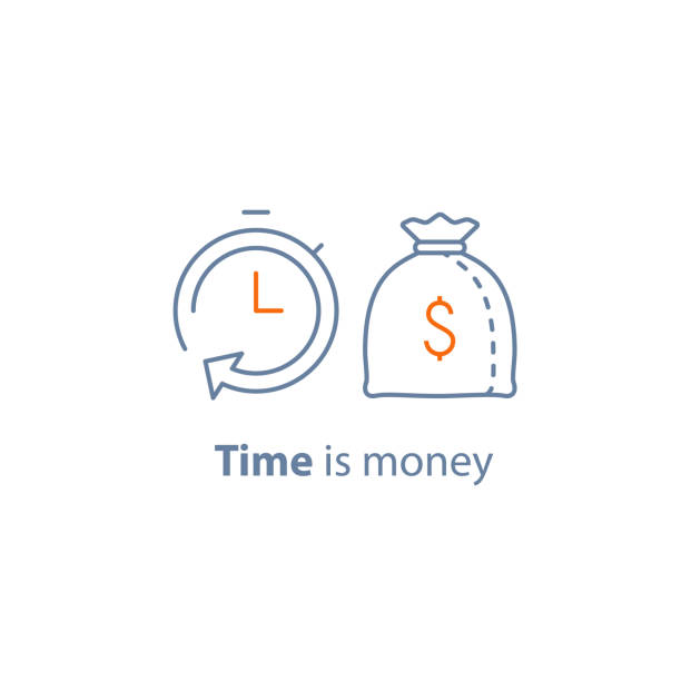 Time is money, fund management, long term investment, financial strategy, finance solution, loan approval, pension savings Time is money, fund management, long term investment, financial strategy, finance solution, income growth, annual payment, loan approval, fixed payment, pension savings, vector line icon thin stroke time is money stock illustrations