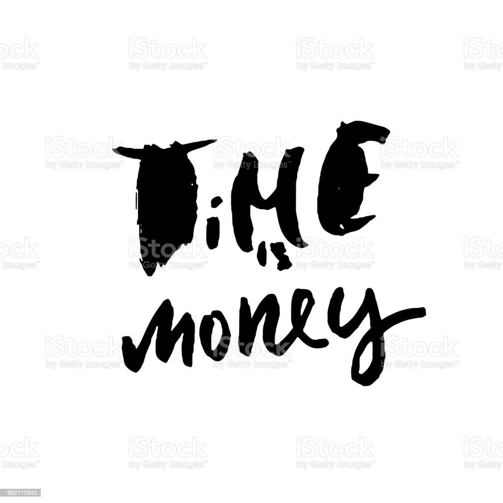 Vetores De Tempo é Dinheiro Mãoextraídas Letras Motivacional