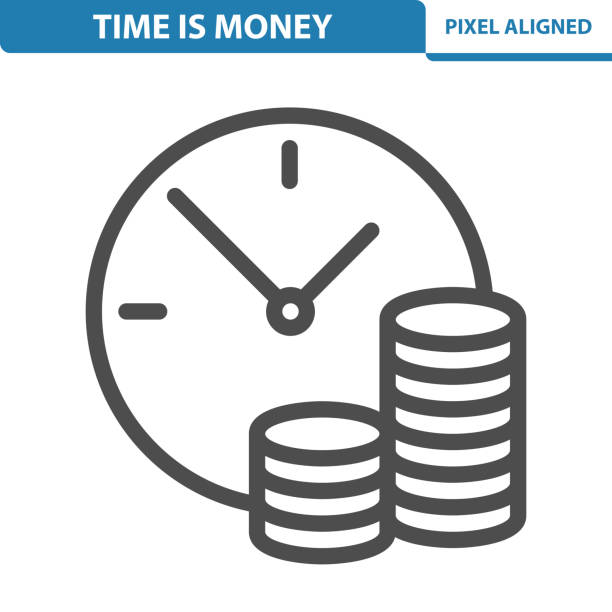 Time Is Money Icon Professional, pixel perfect icon, EPS 10 format. time is money stock illustrations