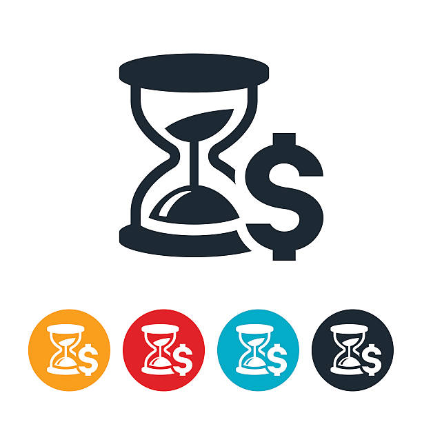 Time Is Money Icon An icon of an hourglass and a dollar sign to symbolize the expression