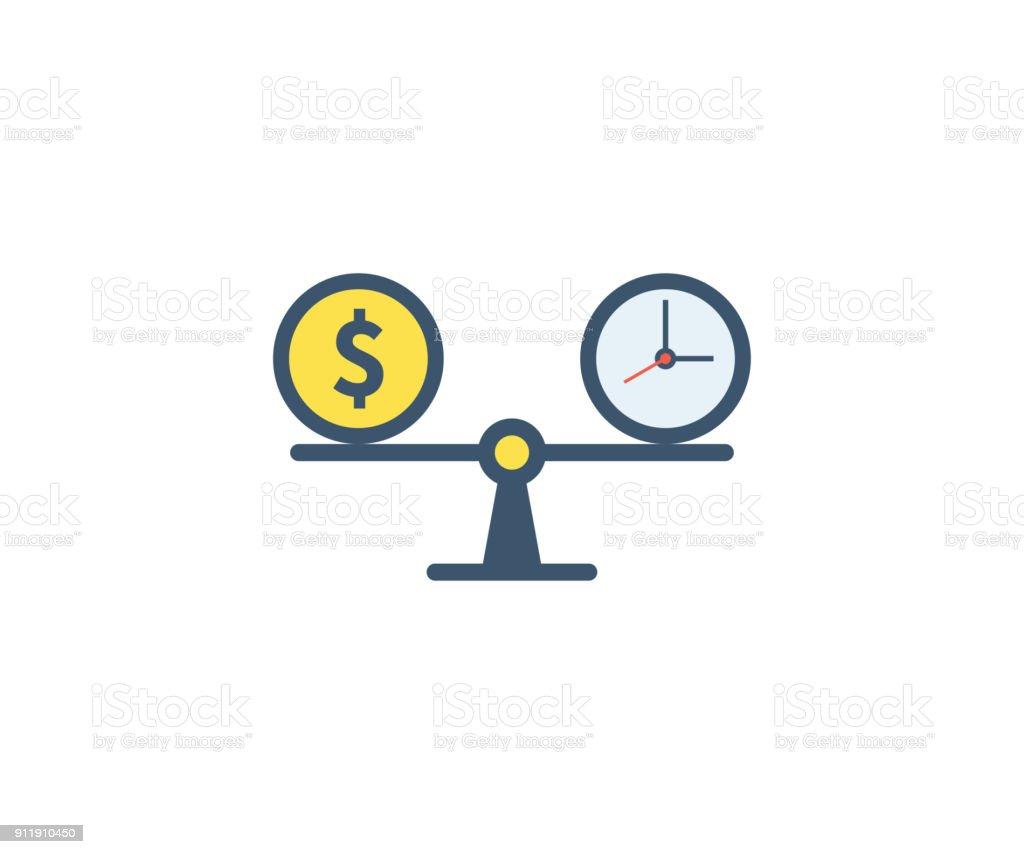 Tempo é dinheiro ícone. Ilustração em vetor em estilo apartamento minimalista. - ilustração de arte em vetor