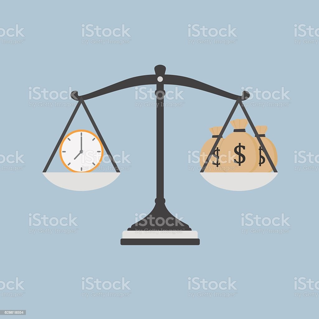 Time Is Money Illustration, Watch And Moneybag on The Scale vector art illustration