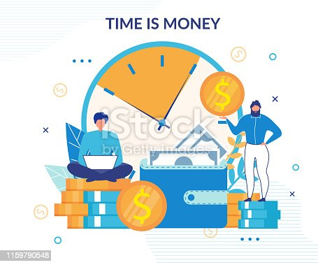 614338352istockphoto Time is Money Income Growth Designed Flat Poster 1159790548