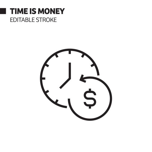 Time is Money Line Icon, Outline Vector Symbol Illustration. Pixel Perfect, Editable Stroke. Time is Money Line Icon, Outline Vector Symbol Illustration. Pixel Perfect, Editable Stroke. time is money stock illustrations