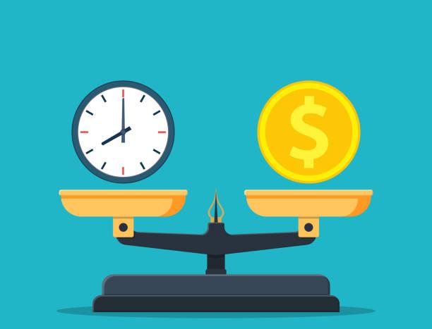 zeit ist geld auf waagsche-ikone. - gleichgewicht stock-grafiken, -clipart, -cartoons und -symbole