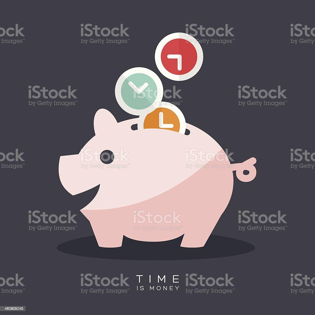 Time is Money Piggy Bank vector art illustration