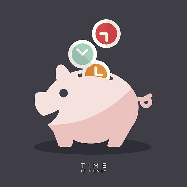 Time is Money Piggy Bank Time is Money Piggy Bank Vector Illustration time is money stock illustrations