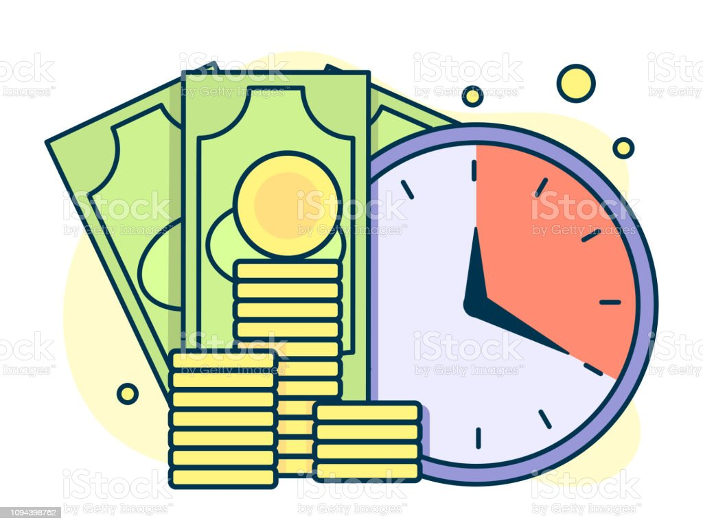 time is money, quick loans and deposits concept. Line art, flat style...