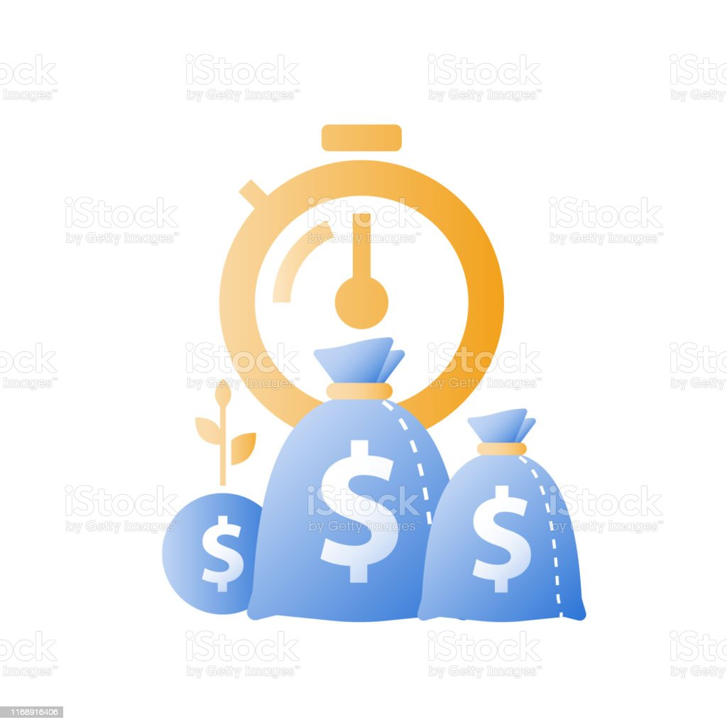 Stopwatch and bags, time is money, fast loan, quick credit, payment...