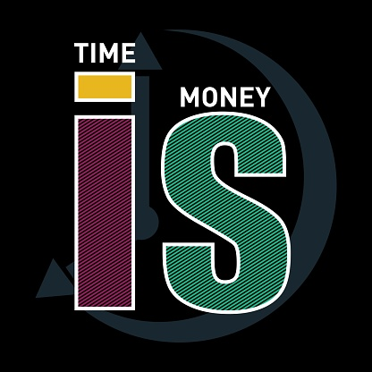 time is money typography t shirt, vector illustration