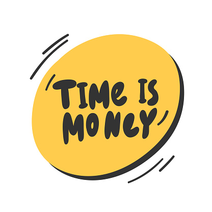 Time is money. Vector hand drawn illustration with cartoon lettering.