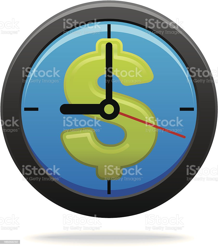 Time is money (Clock with Dollar Sign) royalty-free stock vector art