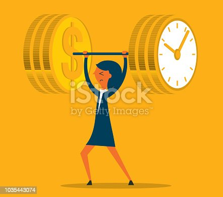 Time is money, weightlifting, healthy businesswoman lifting a time clock and dollar sign weight (barbell) by one hand, time management and business growth concept