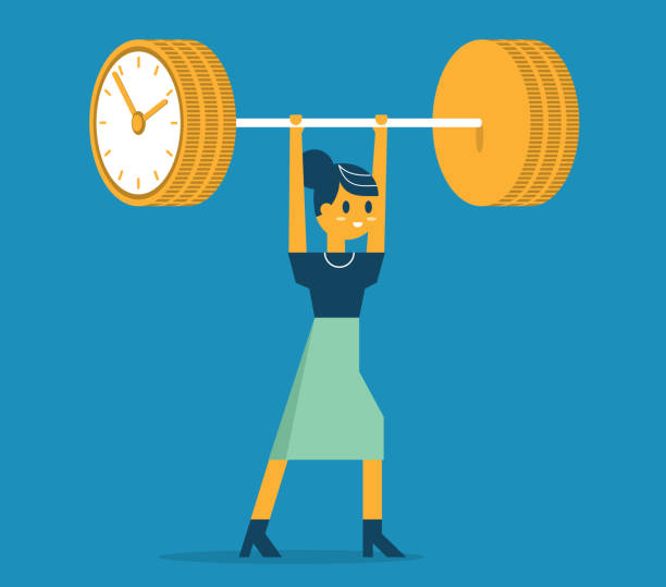 Time is money, weightlifting - Businesswoman vector art illustration
