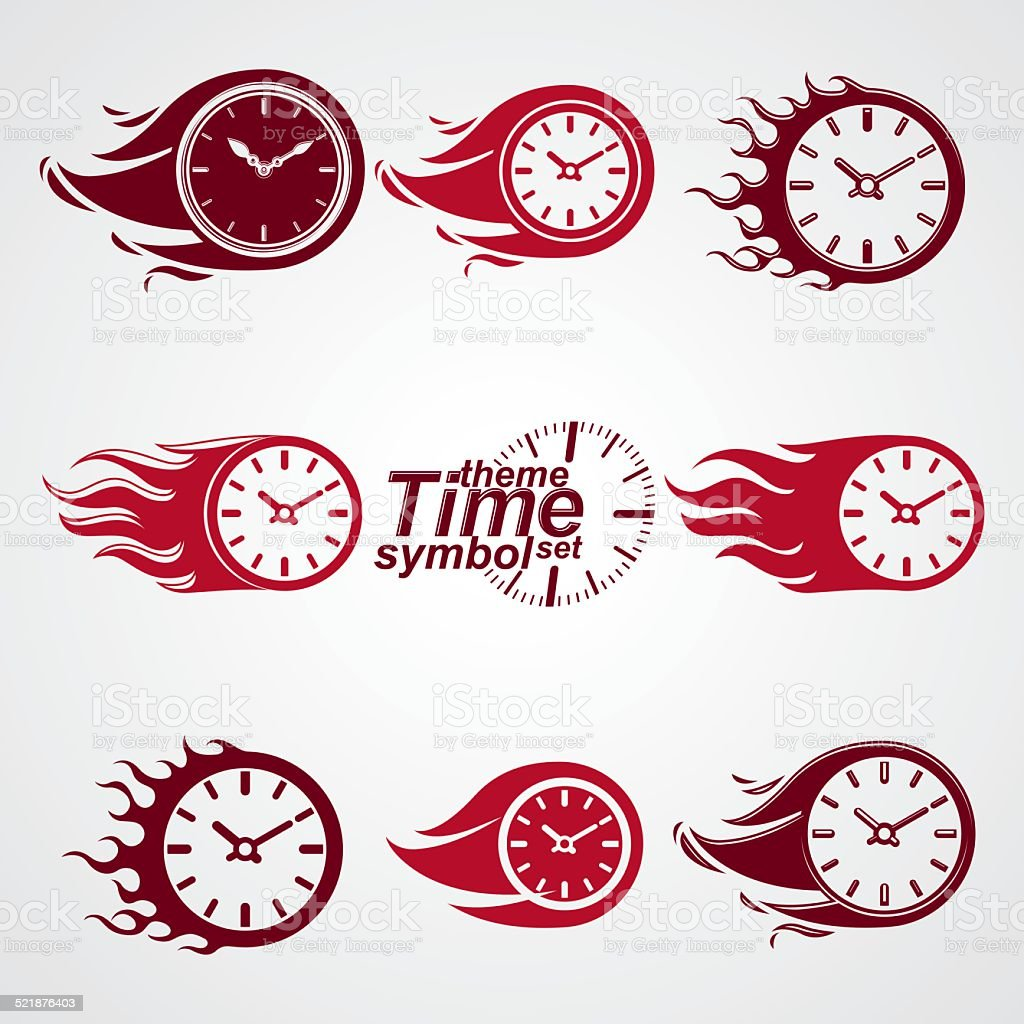 Time is running out concept, vector timers with burning flame. vector art illustration