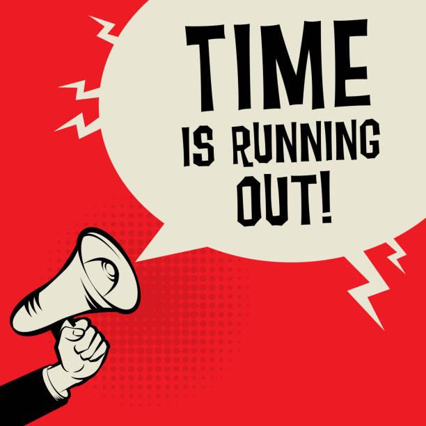illustrazioni stock, clip art, cartoni animati e icone di tendenza di time is running out - near