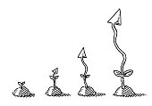 Hand-drawn vector drawing of a Time Lapse of an Arrow Plant, Business Growth Concept. Black-and-White sketch on a transparent background (.eps-file). Included files are EPS (v10) and Hi-Res JPG.