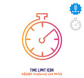 Time limit vector icon illustration for logo, emblem or symbol use. Part of continuous one line minimalistic drawing series. Design elements with editable gradient stroke line.
