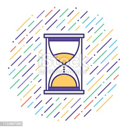 Flat line vector icon illustration of time limit deadline with abstract background.