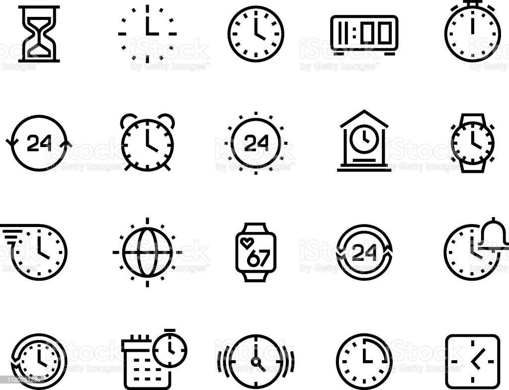 Time Line Icons Clock Calendar Timer Watch And Hourglass