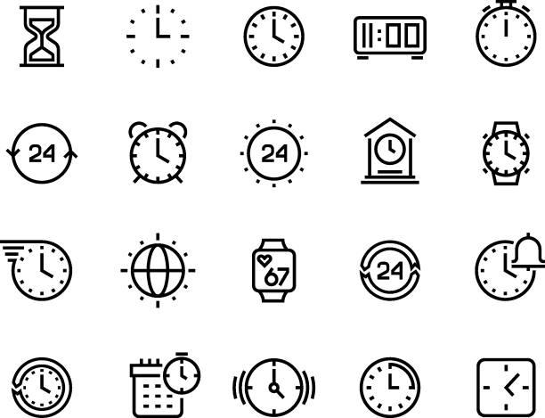bildbanksillustrationer, clip art samt tecknat material och ikoner med tid linje ikoner. klockan calendar timer klocka och timglas vektor symboler, väntar och arbetar timmar piktogram isolerade - alarm clock