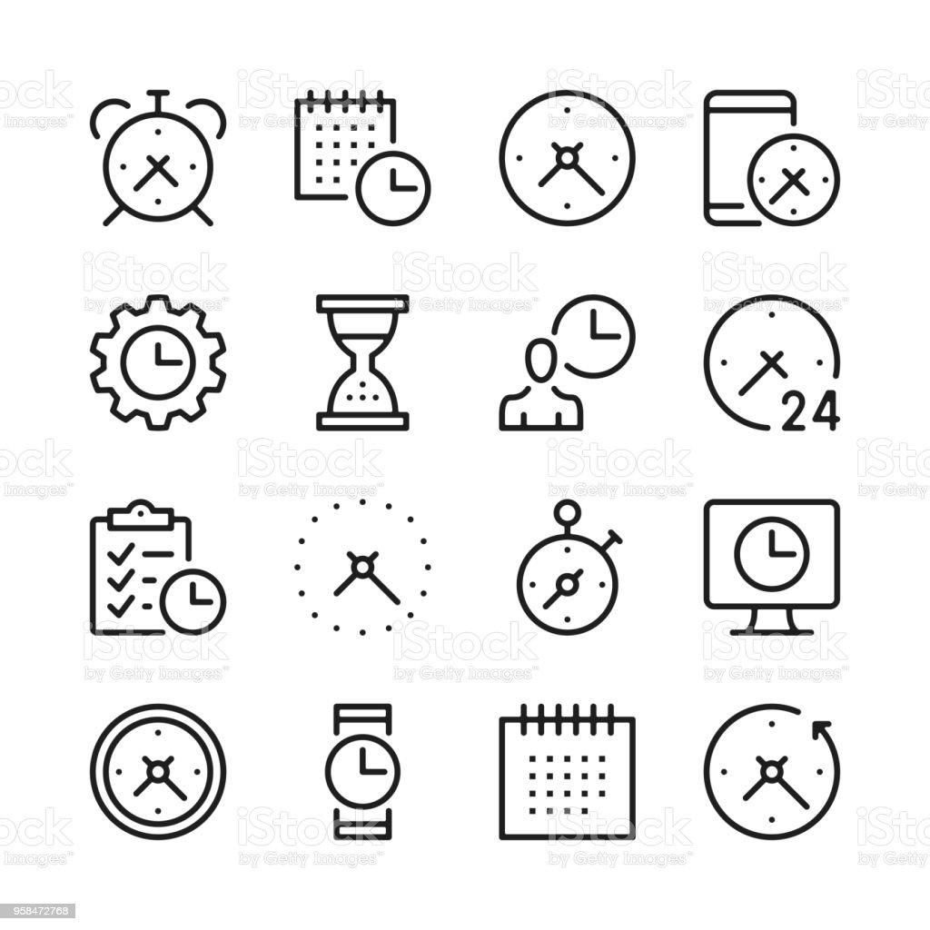 Time line icons set. Modern graphic design concepts, simple outline elements collection. Vector line icons vector art illustration