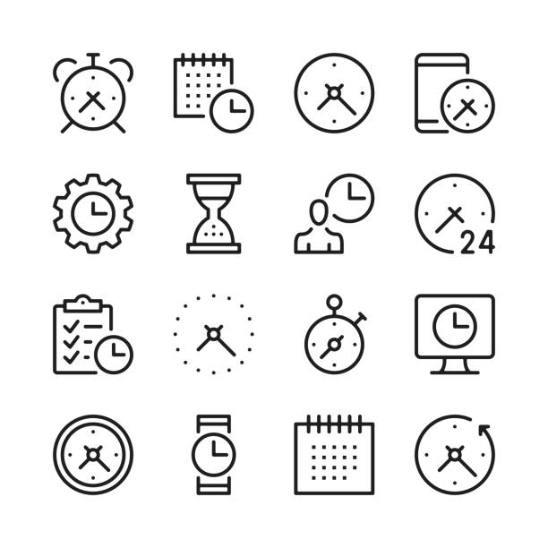Time line icons set. Modern graphic design concepts, simple outline elements collection. Vector line icons Time line icons set. Modern graphic design concepts, simple outline elements collection. Vector line icons agenda stock illustrations