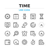 Time line icons set. Modern outline elements, graphic design concepts. Stroke, linear style. Simple symbols collection. Vector line icons