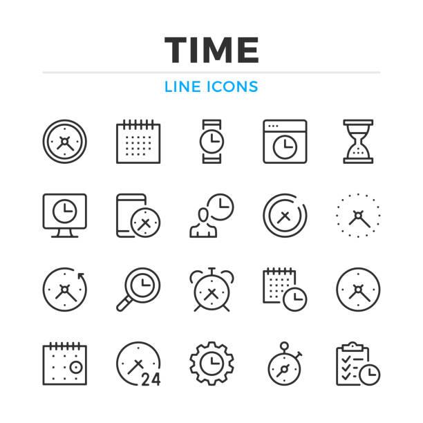 ustawiono ikony linii czasowych. nowoczesne elementy konspektu, koncepcje graficzne. obrys, styl liniowy. kolekcja prostych symboli. ikony linii wektorowych - czas stock illustrations