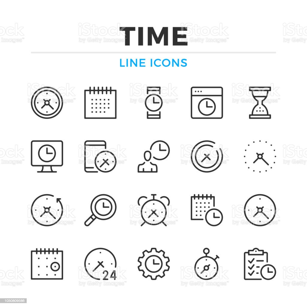 Time line icons set. Modern outline elements, graphic design concepts. Stroke, linear style. Simple symbols collection. Vector line icons vector art illustration